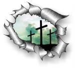 A4 Size Ripped Torn Metal Design With Christian Crucifix Motif External Vinyl Car Sticker 300x210mm